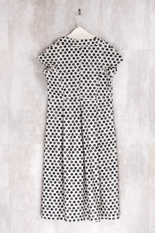 Robe imprimé points noirs/écru-E16-72-CS-G