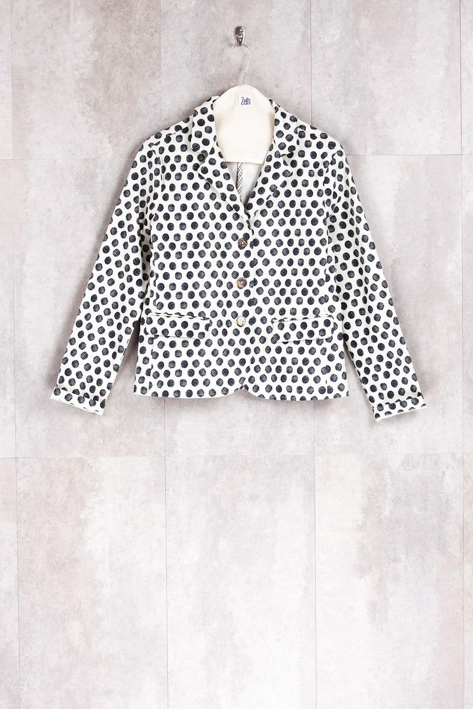 Veste imprimés points noirs/écru-E16-61-CSL-G