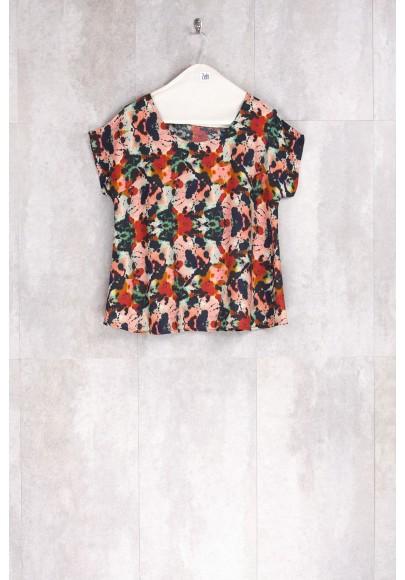 Blouse Print Flowers Multicolor-E16-11-VI-I
