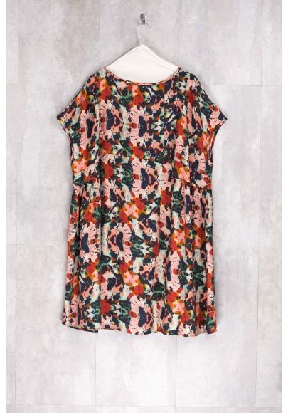Dress Tunic Print Flowers Multicolor-E16-72-VI-I