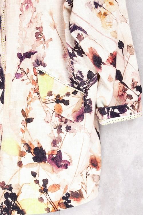 Veste doublée imprimée fleurs printemps-E16-60-CL-E