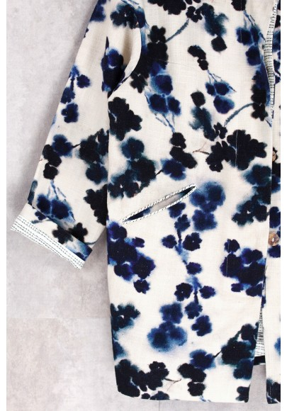 Jacket Print Flowers Blue-E16-60-CL-J